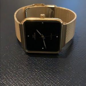 NWT JLUXLABEL Golden NY to London Watch Black Face